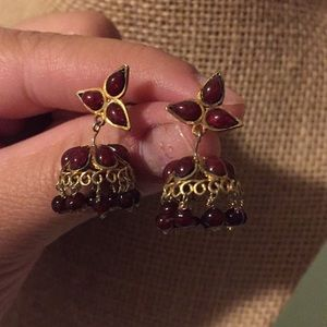 Brass and beads earrings from India